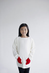 """friendly knit"" mitten sweater red"